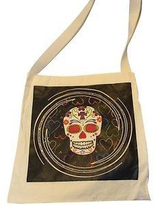 "Canvas Silk Screened Sugar Skulls Tote 14"" x 16"" Day of Dead Bag Original 188"