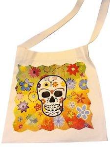 "New Skeleton Canvas Silk Screened Sugar Skull Tote 14"" x 16"" Day of Dead Bag 187"