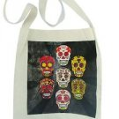 Mexico Sugar Skull Tote Canvas Artisan Printed 14x16 Canvas Day of the Dead Bag