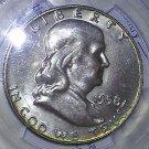 1958 D Rainbow Toned MS 65 Full Bell Line PCGS Franklin Silver Half Dollar