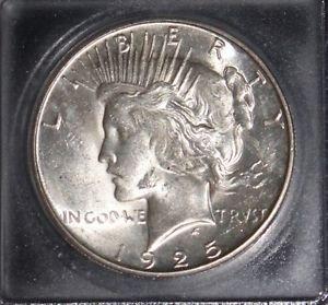 1925 S Brilliant MS 62 Semi Key Peace Silver Dollar