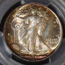 1945 Rainbow Toned PCGS MS 66+ Walking Liberty Half Dollar