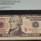 2013 Fr 2042-B Ten Dollar Federal Reserve Note Dramatic Cutting Error PCGS 25PPQ