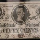 1864 T-63 Sharp Confederate States of American Fifty Cent Note