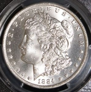 1884 O MS 65 PCGS Graded Gem Brilliant White Morgan Silver Dollar