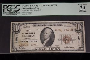 1929 Fr 1801-2 $10 PCGS VF 20 First National Bank Meridian National Currency