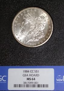 1884 CC Rainbow Toned GSA Hoard MS 64 NGC Carson City Morgan Silver Dollar
