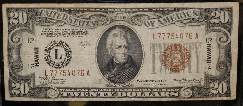 1934 A Very Fine FR 2305 Twenty Dollar Hawaii Federal Reserve Note