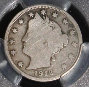 1912 S Key Date PCGS Graded Good 6 Liberty Nickel