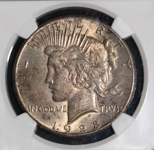 1928 AU 58 Almost Uncirculated Key Date NGC Graded Peace Silver Dollar