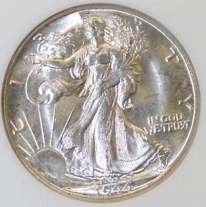 1944 D MS 65 White Gem Brilliant NGC Graded Walking Liberty Silver Half Dollar