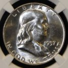 1957 D NGC MS 64 FBL Brilliant White Franklin Silver Half Dollar