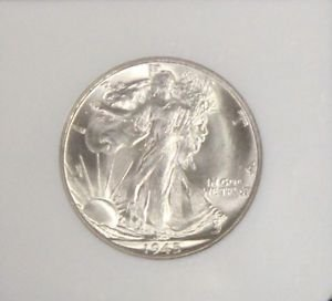 1945 S MS 66 Brilliant White NGC Graded Walking Liberty Silver Half Dollar