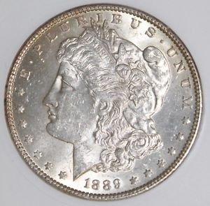 1889 MS 61 VAM 22 BAR WING Far Date Top 100 Morgan Silver Dollar