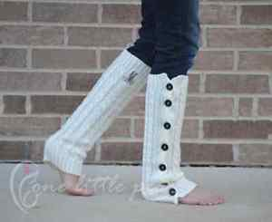 Monogram leg warmers, gift for her, button legwarmers, knit warmer, boot topper