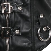 Leather Gothic Corset with Buckles and Side Zipper. BDSM. Fetish. Adult Games