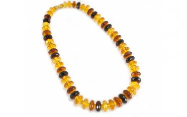 "AMBER necklace ""Sunset"" Luxurious diamond-polished Gemstone Baltic Proud jewelry"