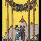 IV Four 4 of Wands RWS Tarot Handmade 3x4 Giclee Art Print Sew on Patches FREE S/h