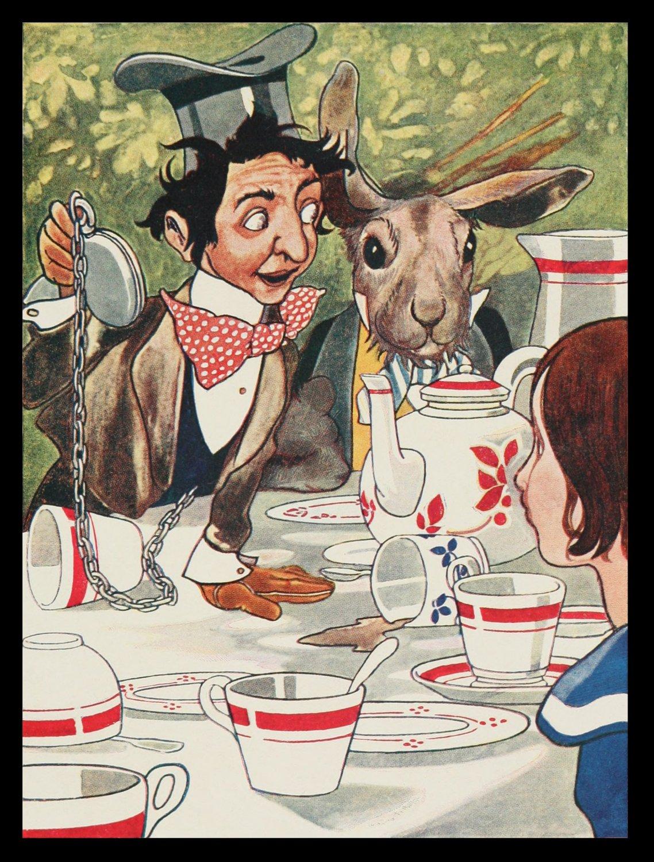 Fantasy Alice Adventures in Wonderland Tea Time Handmade 3x4 Giclee Art Print Sew on Patch FREE S/h
