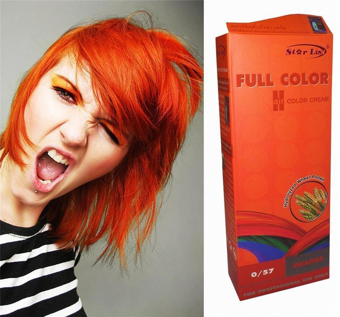Premium Permanent Hair Colour Cream Dye Goth Cosplay Emo Punk 0/57 BRIGHT ORANGE