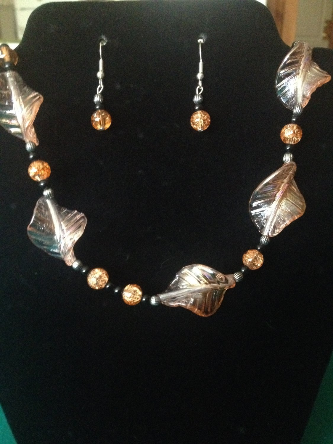 Peach and Black Beaded Set