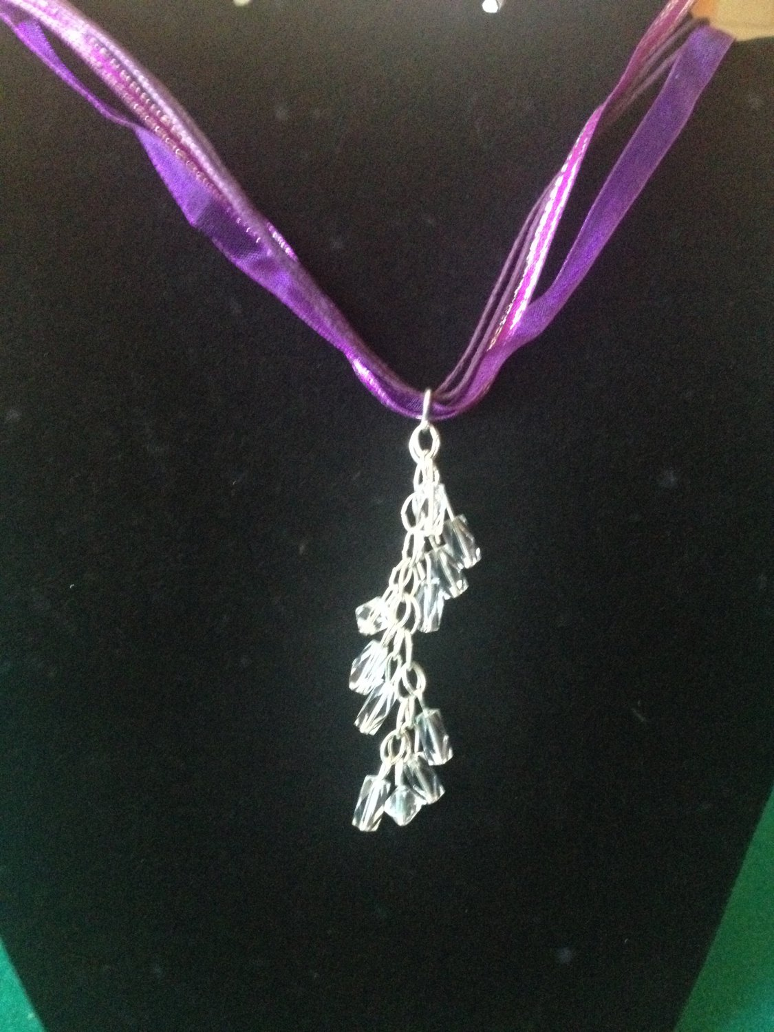 Purple Ribbon Necklace with clear Crystal Beads