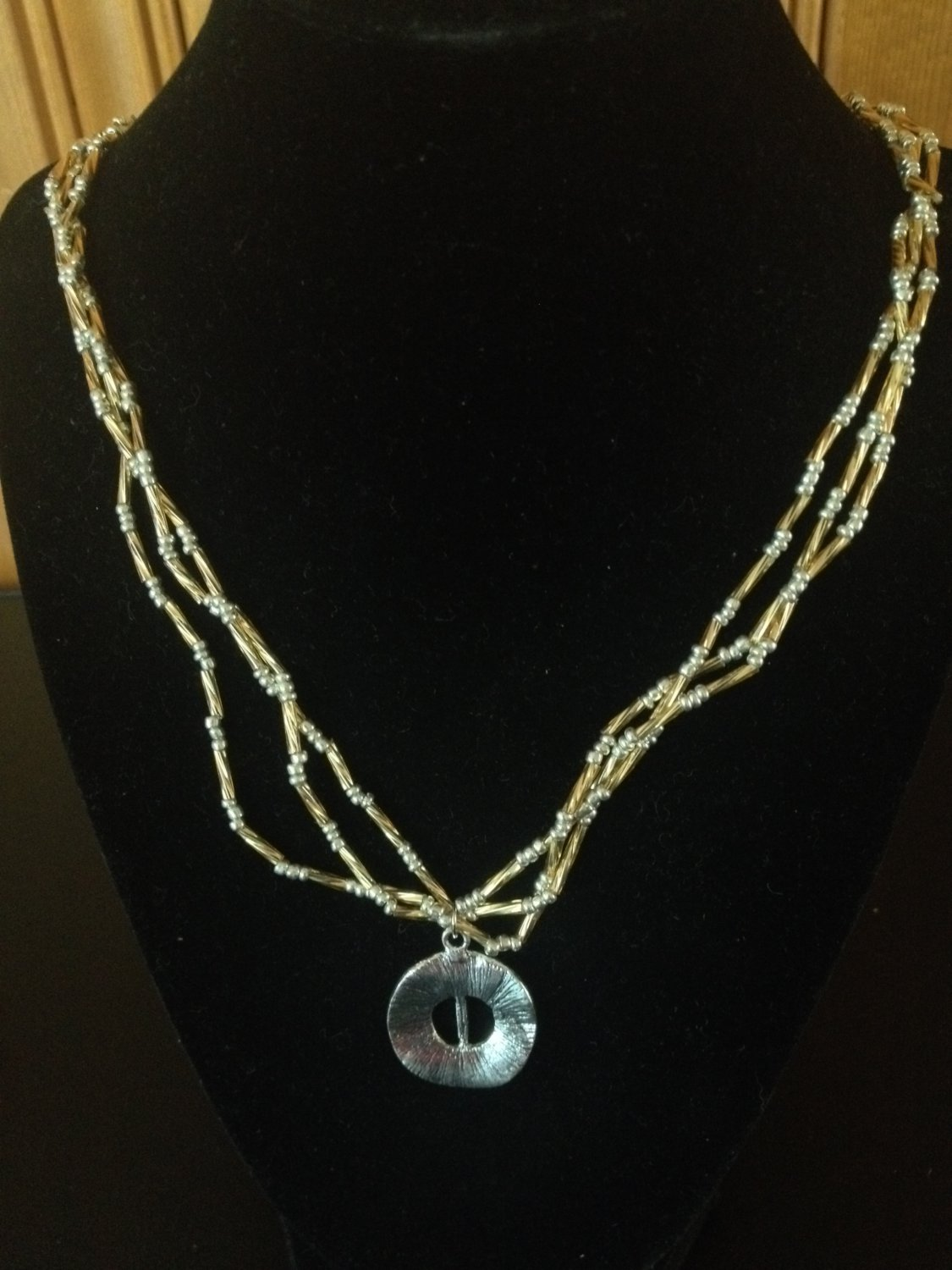 Silver and Gold Beaded Necklace with silver pendant
