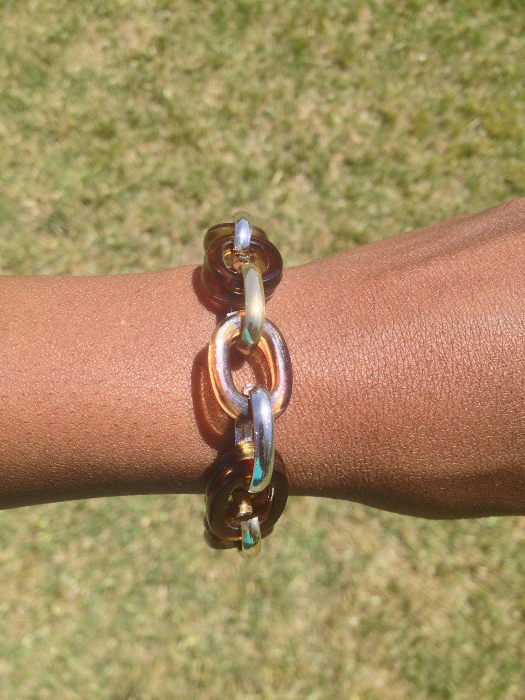 Brown, Silver, Gold Chain Bracelet