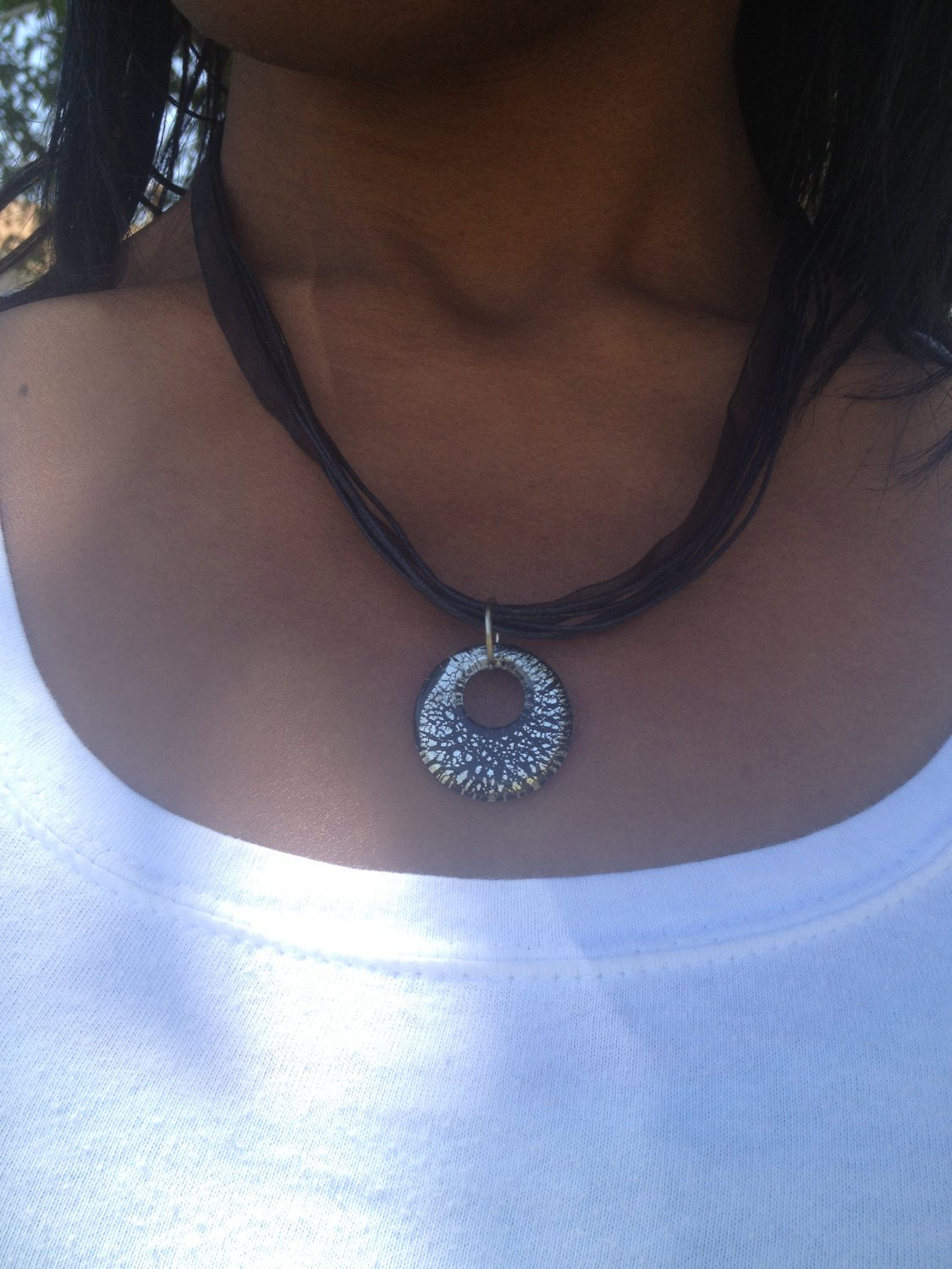 Black necklace with glass pendant