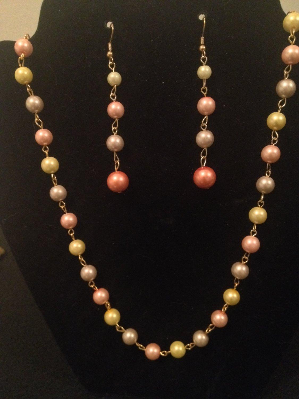 Yellow, Brown, Pink Pearl Set