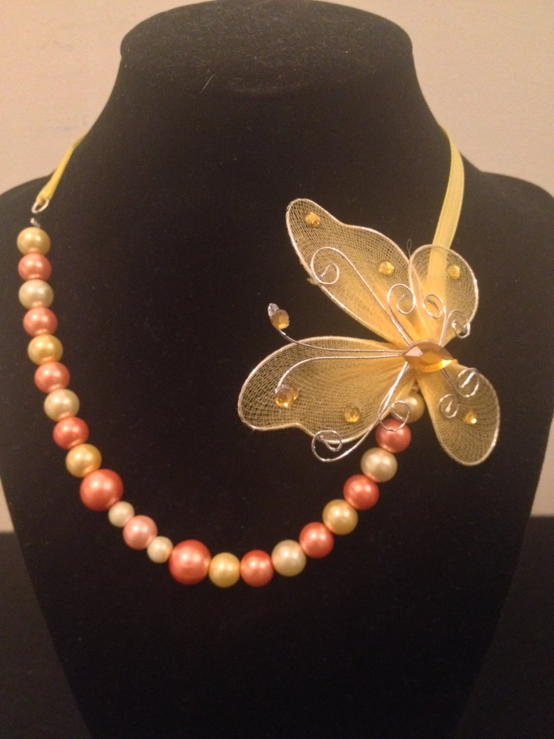 Ribbon and Pearl Necklace with Butterfly
