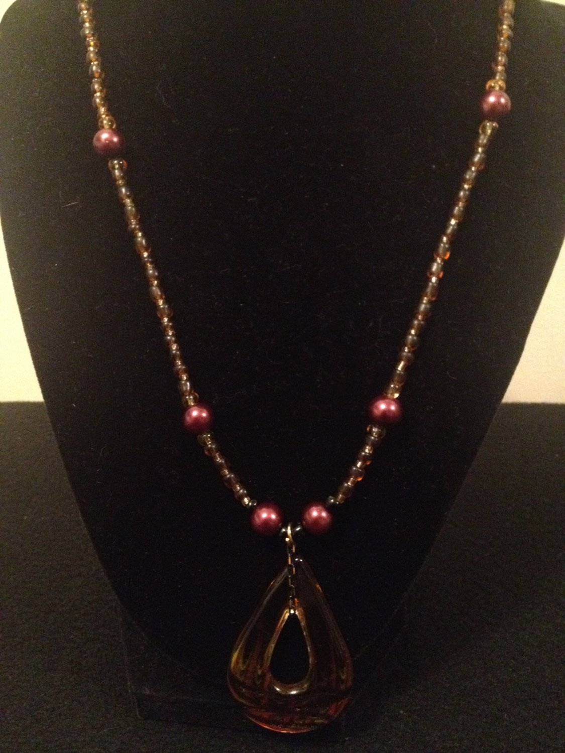 Brown Beaded Necklace with Glass charm