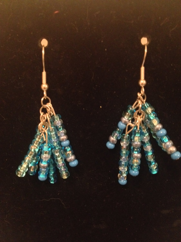 Multi-strand Blue Earrings