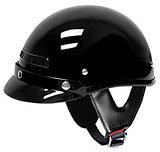 101BlackVents - Small and Light Weight Black DOT Half Motorcycle Helmet with Vents
