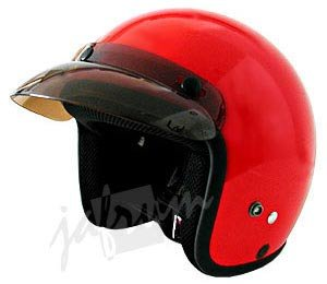 10Red - Red DOT Open Face Motorcycle Helmet