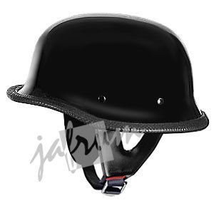 115Black - Black DOT Approved German Style Motorcycle Helmet