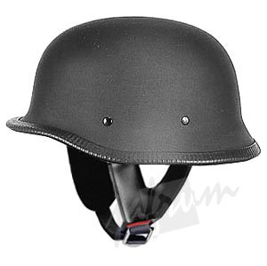 115Matt - Matt Black DOT Approved German Style Motorcycle Helmet