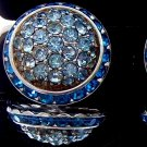 ANTIQUE CORO RHINESTONE BUTTON EARRINGS (DES17)
