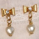 VINTAGE FAUX PEARL & RHINESTONE HEART EARRINGS (E164)