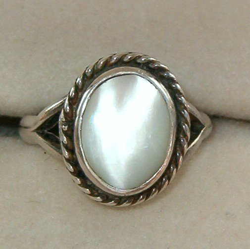VINTAGE MOTHER of PEARL RING SZ. 3-3/4--4  (R9)