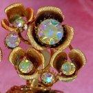 ANTIQUE AURORA BOREALIS BRUSHED GOLD EARRINGS (FF74)