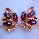 ANTIQUE ART SIGNED AB RHINESTONE EARRINGS (DES81)