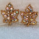 ANTIQUE AURORA BOREALIS MAPLE LEAF PAVE RHINESTONE EARRINGS (FF65)