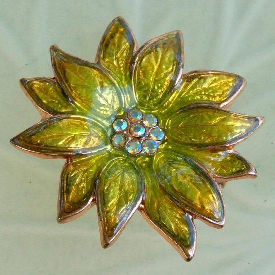 ANTIQUE AURORA BOREALIS FLOWER BROOCH  (FF16)