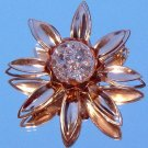 ANTIQUE CRACKLE GLASS FLOWER BROOCH (FF7)