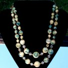 ANTIQUE 2-STRAND MARBLED BEAD NECKLACE (N20)