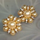 ANTIQUE RHINESTONE & FAUX PEARL EARRINGS (WW6)