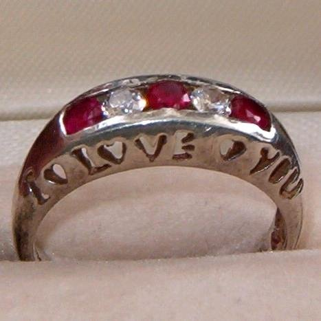 "CHARLES WINSTON STERLING ""I LOVE YOU""  RING SZ. 7  (R19)"