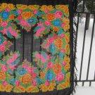 Pure Wool Vintage Black Ukrainian Floral Scarf, Russian Floral Scarf, black shawl, black USSR Shawl,