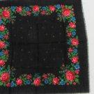 USSR Wool Black Vintage Ukrainian Floral Scarf, Russian Floral Scarf, black shawl, black USSR Shawl,